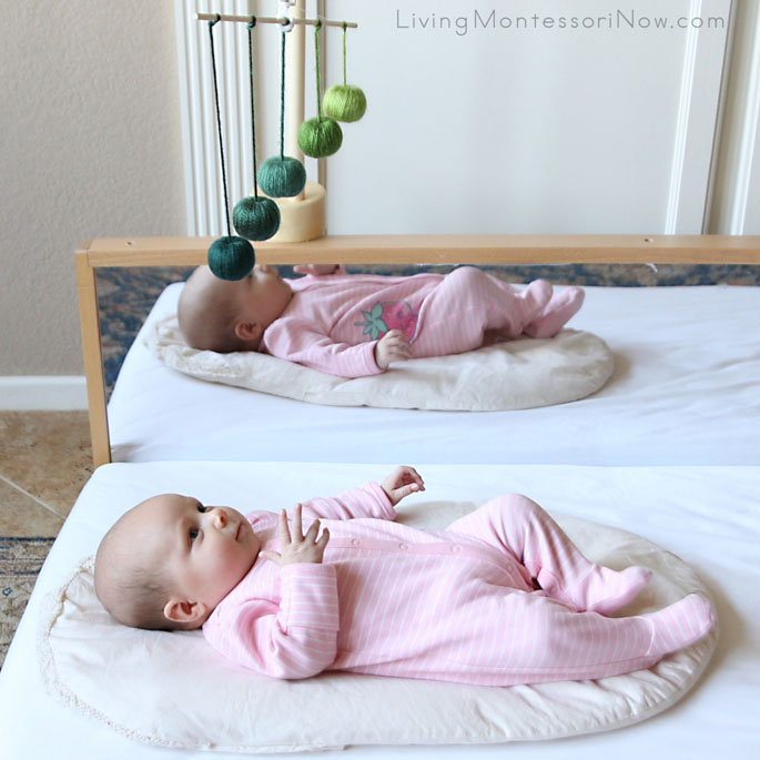 Concentrating on the Montessori Gobbi Mobile at 10 Weeks