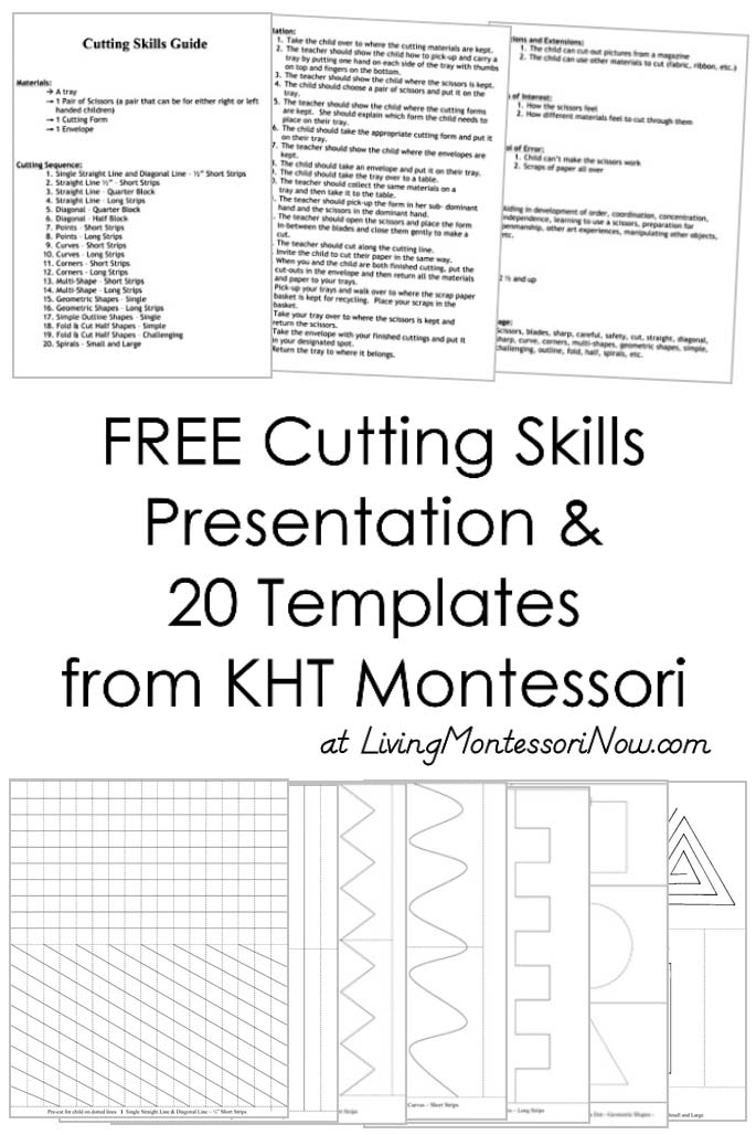 Free Cutting Skills Presentation and 20 Templates from KHT Montessori