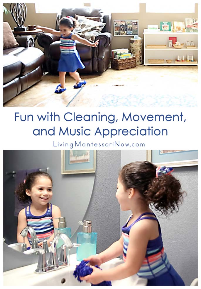 Fun with Cleaning, Movement, and Music Appreciation {Montessori Monday}
