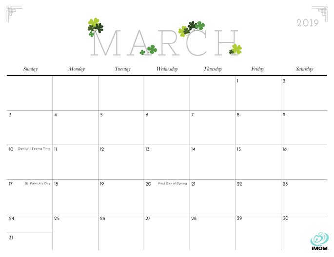 March 2019 Calendar from iMom