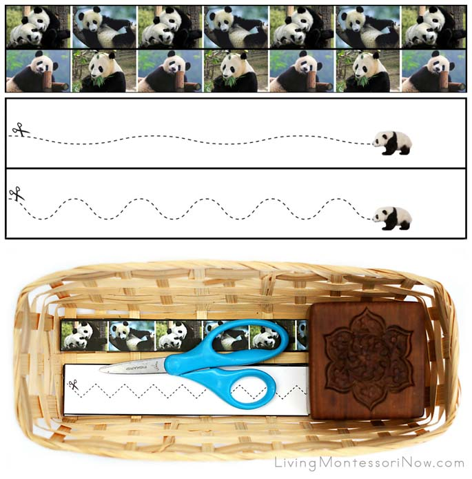 Panda Cutting Strips with Basket