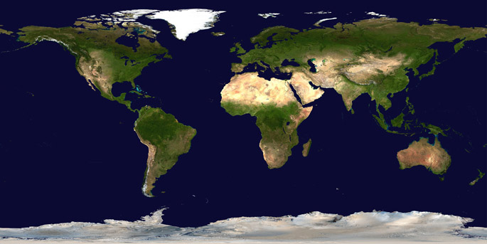 Satellite Composition of the Whole Earth's Surface (Public Domain Image from NASA)