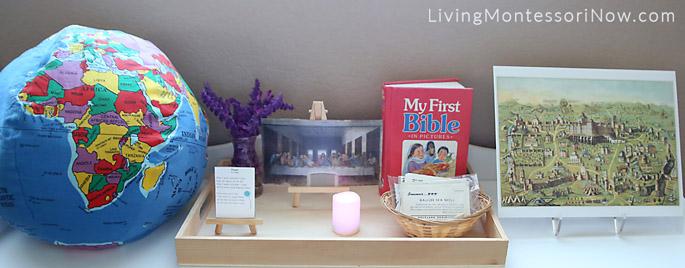 Shelf with Montessori-Style Lenten Tray and Jerusalem - Holy Land Geography