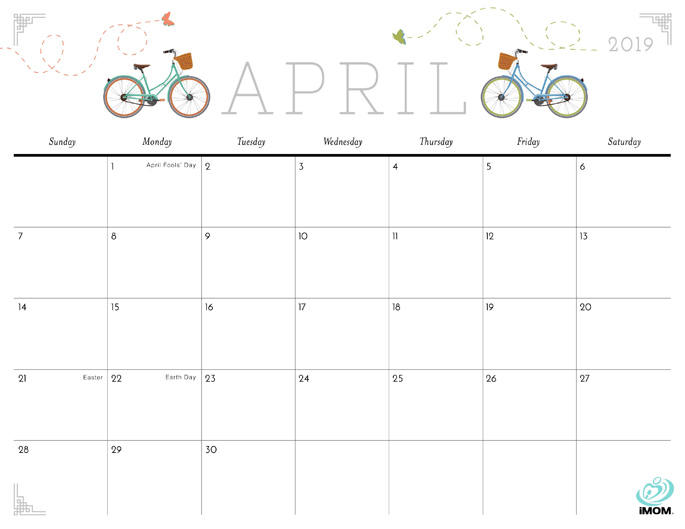 April 2019 Calendar from iMom