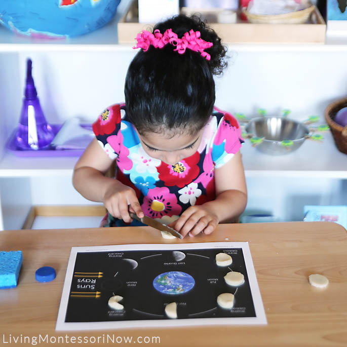 Cutting Playdough Circle into a Phase of the Moon