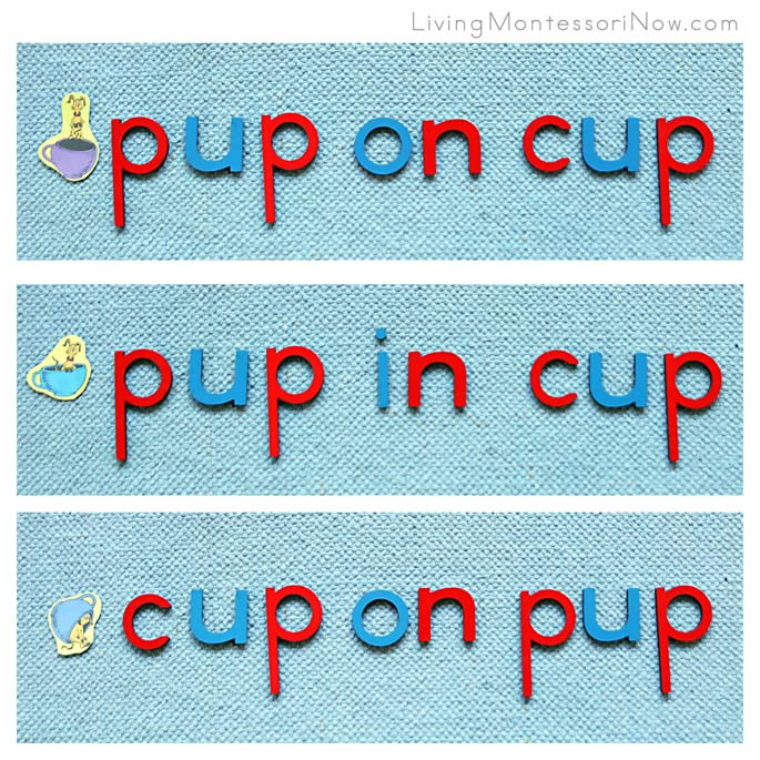 Dr Seuss Pictures and Prepositional Phrases Using Pup and Cup with the Montessori Movable Alphabet