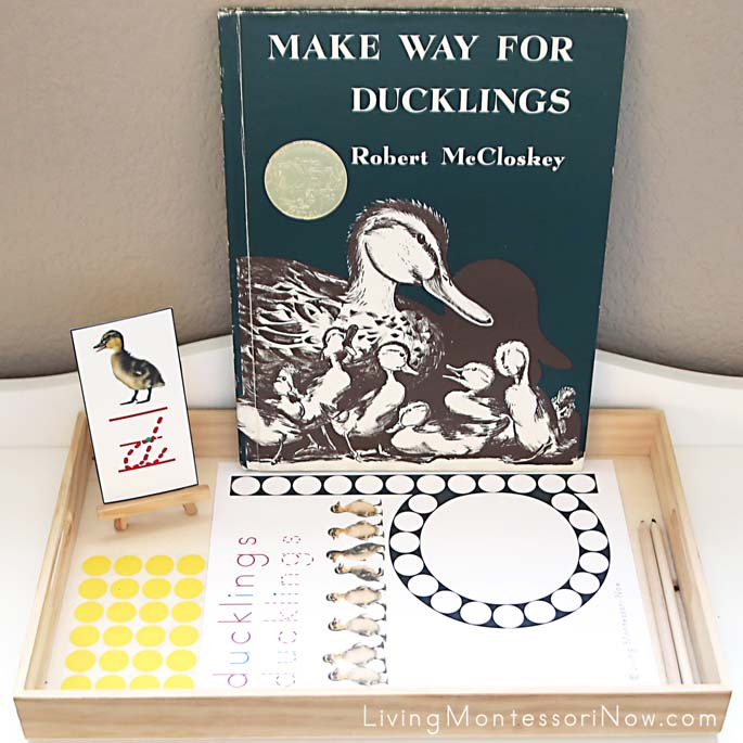 Ducklings Do-a-Dot Letter D Tray with Stickers and Make Way for Ducklings Book