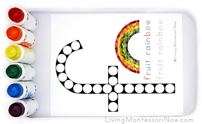 Fruit Rainbow Do-a-Dot Letter F Tray with Do-a-Dot Markers