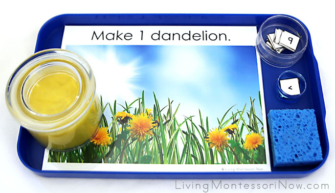 Montessori-Inspired Dandelion Playdough Math Tray