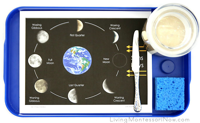 Montessori-Inspired Phases-of-the-Moon Playdough Tray