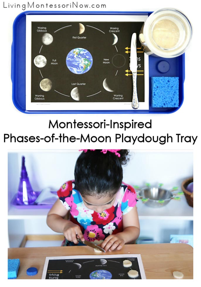 Montessori-Inspired Phases of the Moon Playdough Tray