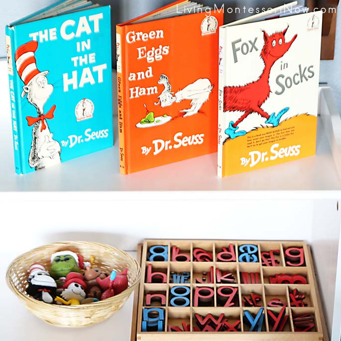 Shelves with Dr. Seuss Books and Figures Plus the Montessori Movable Alphabet
