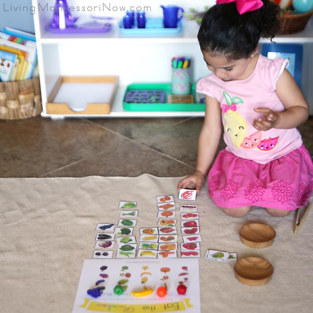 Sorting Fruit and Vegetable Cards by Color