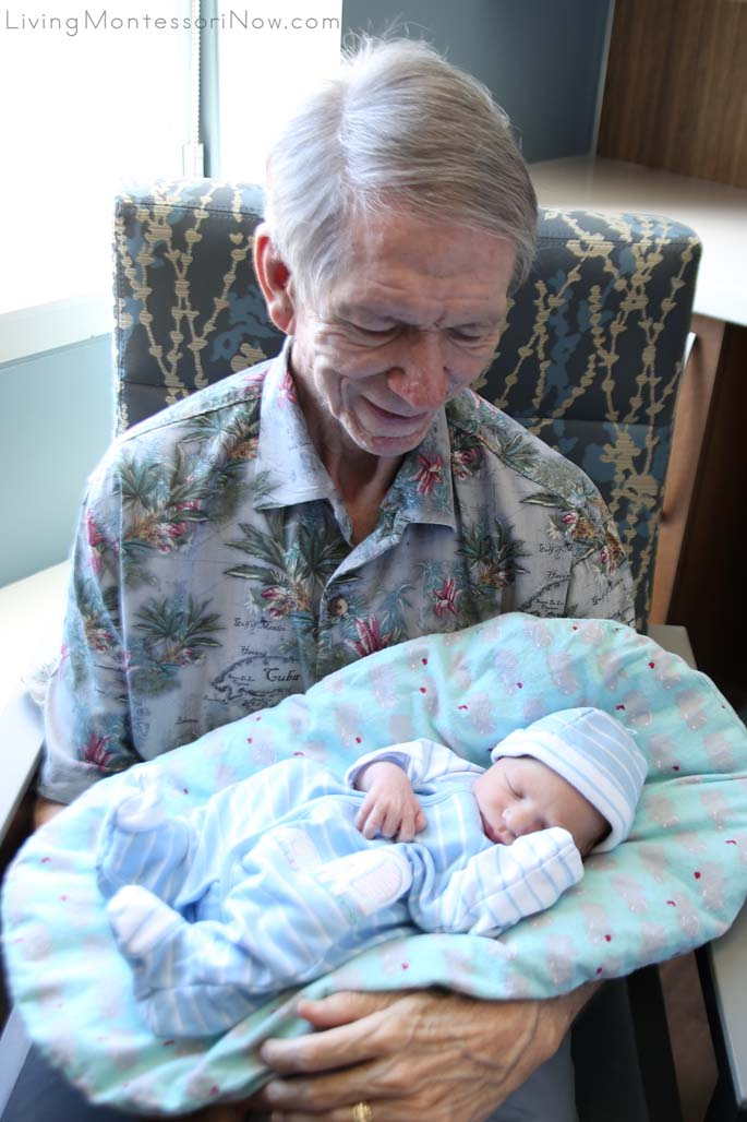 Visiting His New Grandson in the Hospital and Using Montessori Topponcino