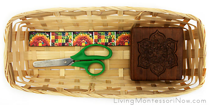 Basket with Eat-a-Rainbow Cutting Strips