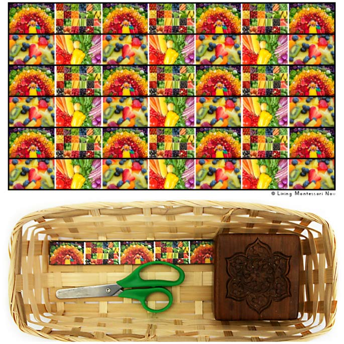 Eat-a-Rainbow Cutting Strips with Basket