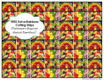 Free Eat-a-Rainbow Cutting Strips (Montessori-Inspired Instant Download)