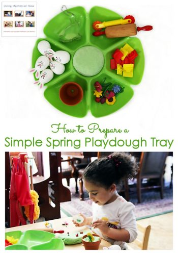 How to Prepare a Simple Spring Playdough Tray