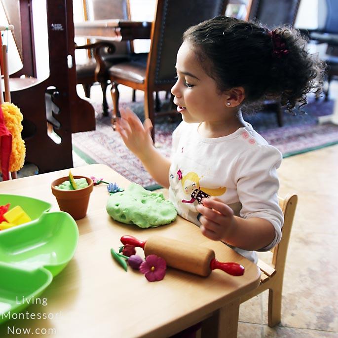 Making a Spring Playdough Flowerpot Design
