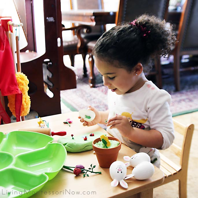 Making a Spring Playdough Garden Scene