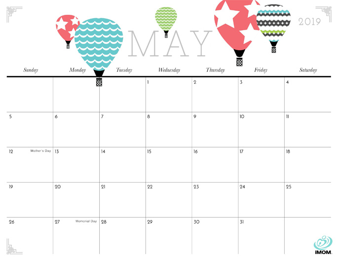 May 2019 Calendar from iMom
