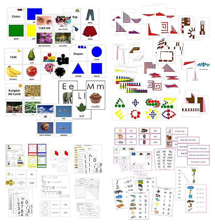 Montessori Print Shop Material Samples - Toddler Materials, Sensorial Extensions, Math Extensions, Pink Language Series