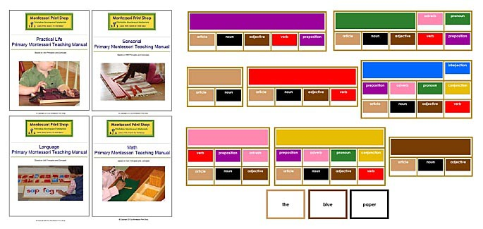 Montessori Print Shop Materials Sample - Primary Teaching Albums and Elementary Grammar Boxes