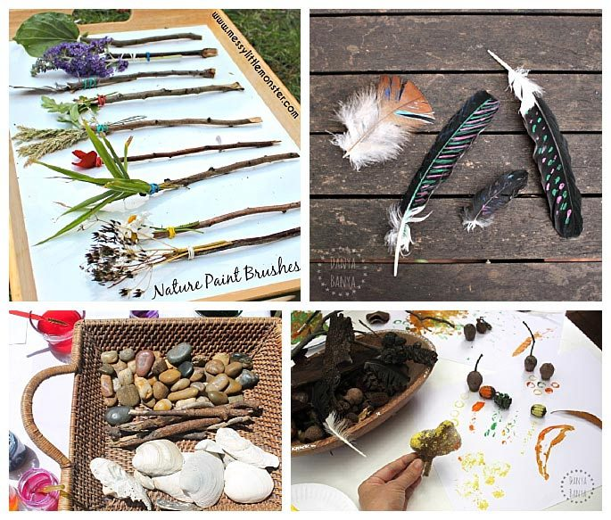 50 creative ways to use materials found on your nature for Painting with nature items