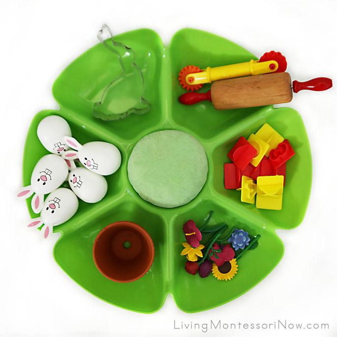 Spring Playdough Tray with a Garden and Rabbit Theme