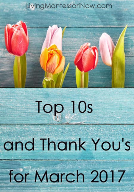 Top 10s and Thank You's for March 2017