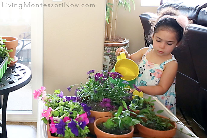 Watering the Plants in the DIY Sensory Table