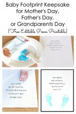 Baby Footprint Keepsake for Mother's Day, Father's Day, or Grandparents Day {Free Editable Poem Printable}