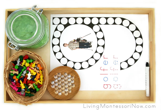 Golfer Do-a-Dot Letter G Tray with Playdough, Golf Tees, and Marbles