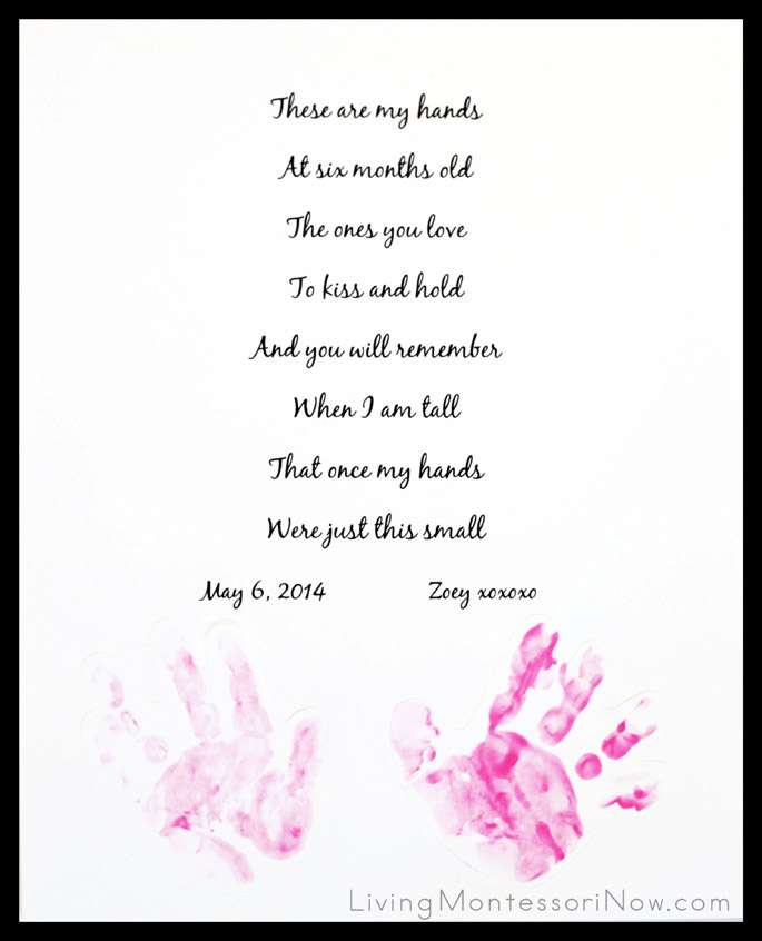 Baby Footprint Keepsake for Mother's Day, Father's Day, or