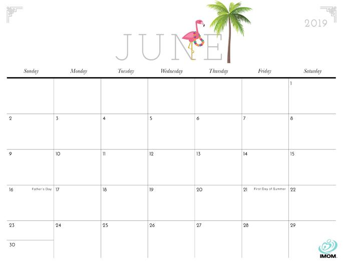 June 2019 Calendar from iMom