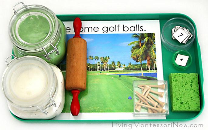 Montessori-Inspired Golf Ball Playdough Math Tray