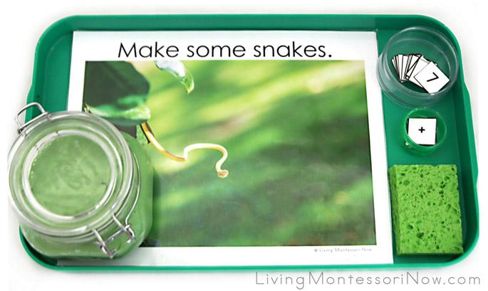 Montessori-Inspired Snake Playdough Math Tray