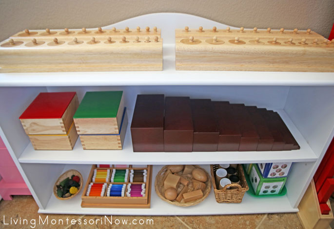 Montessori Sensorial and Movement Shelves