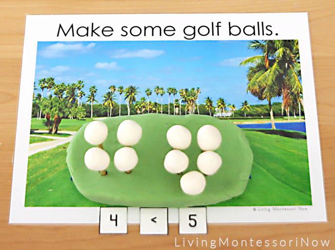 Playdough Golf Ball Greater Than, Less Than Activity