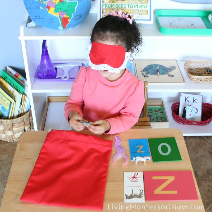 Using Letter Z Objects with Mystery Bag and Blindfold