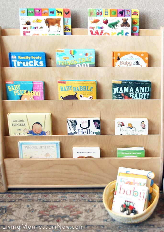 Baby Book Display Shelves and Book Basket