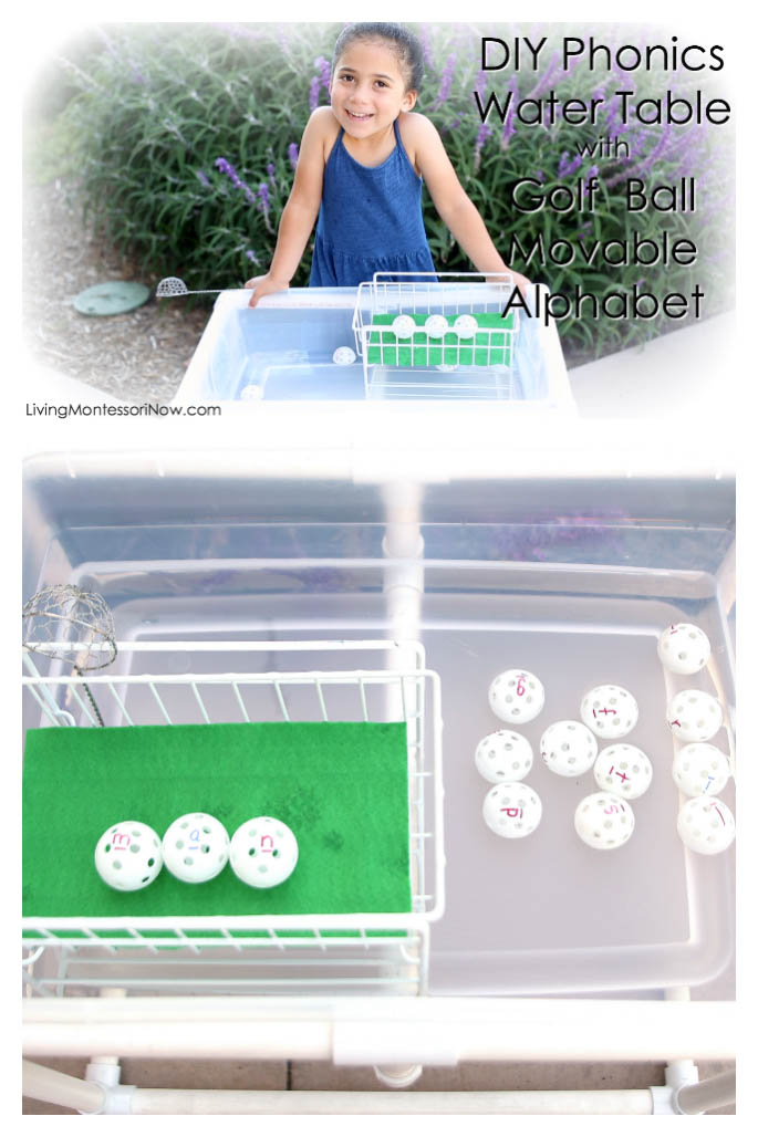 DIY Phonics Water Table with Golf Ball Movable Alphabet