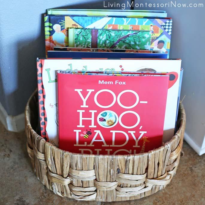 Montessori Book Basket with Some Ladybug Books