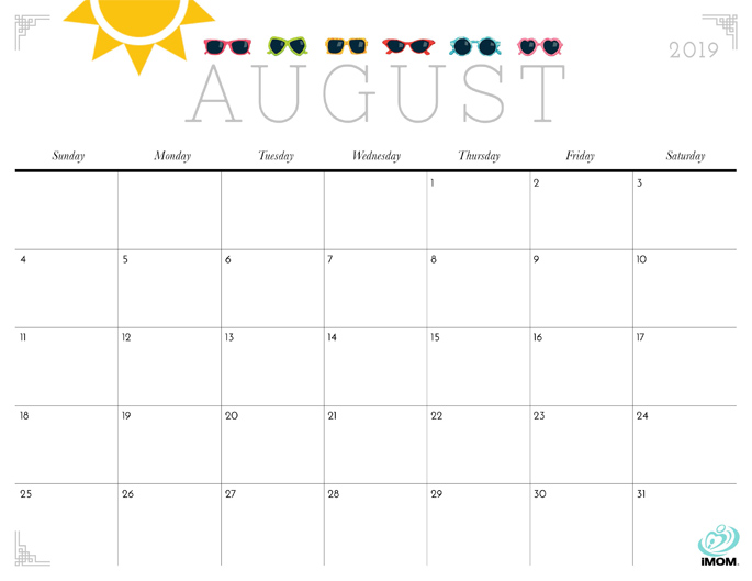 August 2019 Calendar from iMom