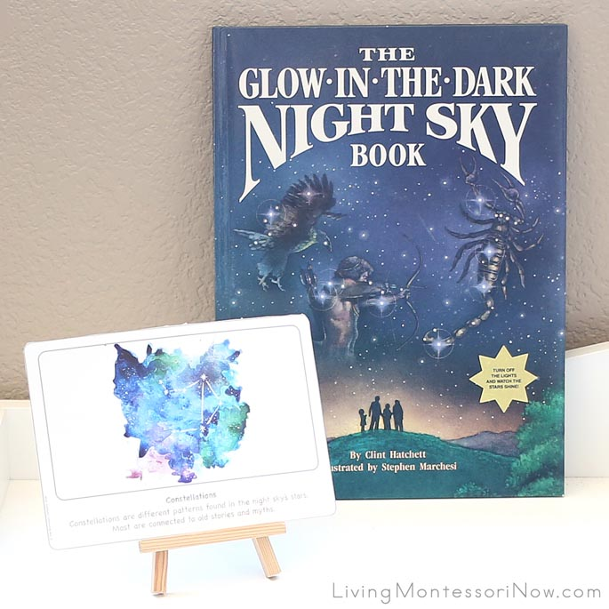 Constellations Culture Card on Shelf with the Glow-in-the-Dark Night Sky Book