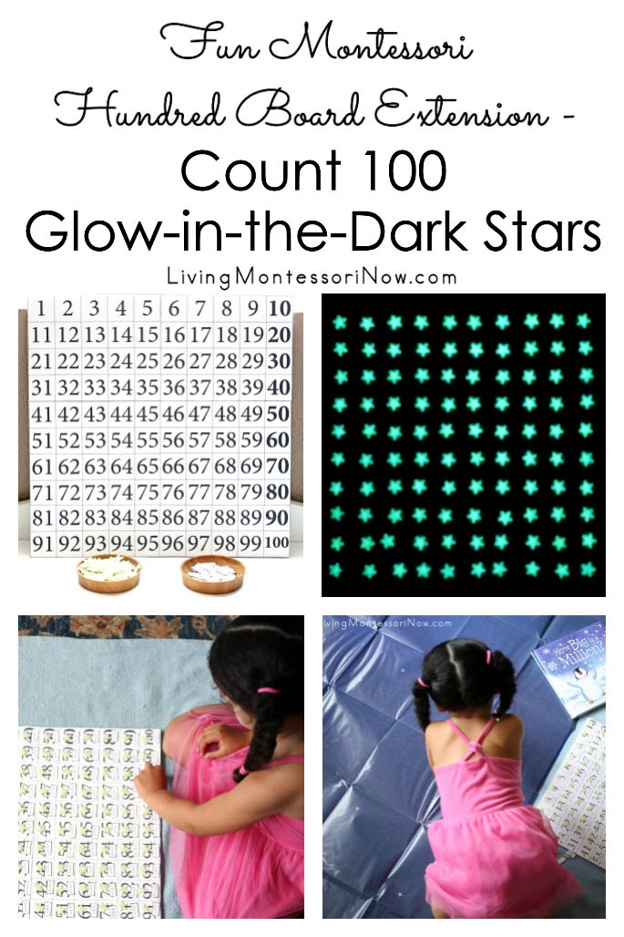 Fun Montessori Hundred Board Extension - Count 100 Glow-in-the-Dark Stars