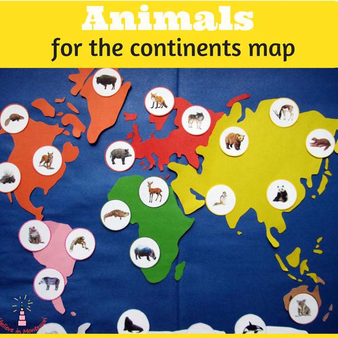 Animals for the Continents Map from the Nature Printables Library