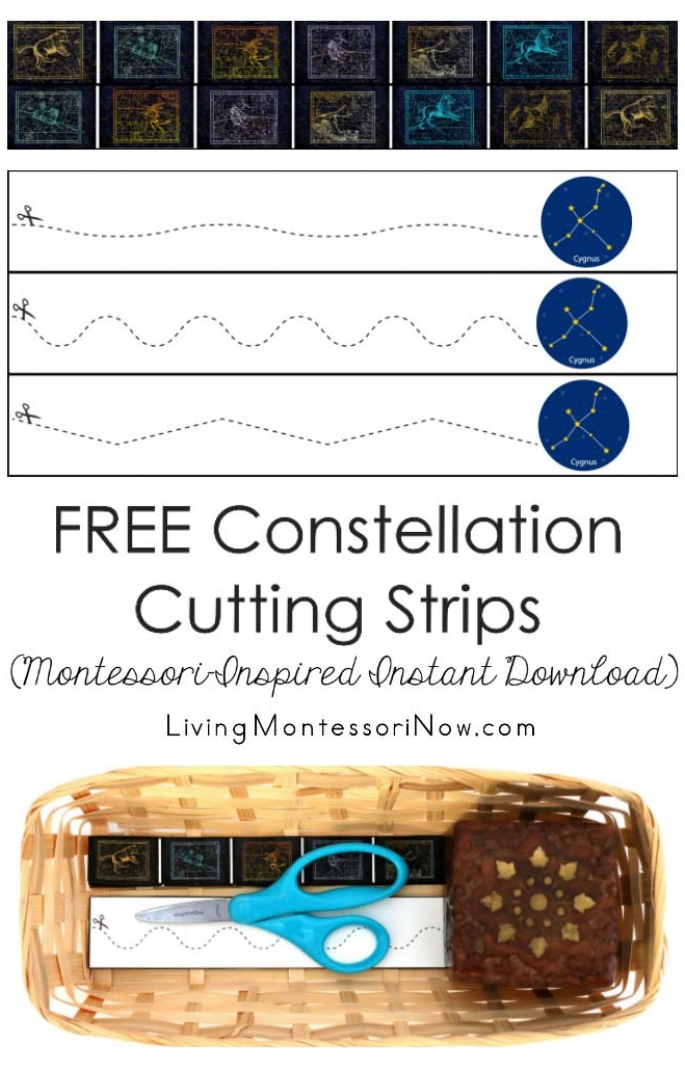 FREE Constellation Cutting Strips (Montessori-Inspired Instant Download)