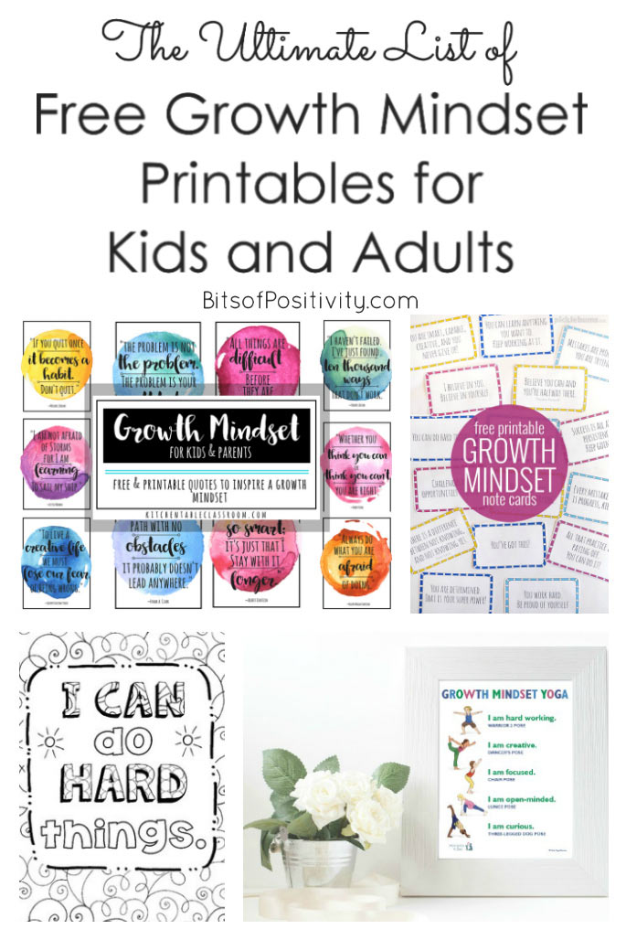 The Ultimate List of Free Growth Mindset Printables for Kids and Adults