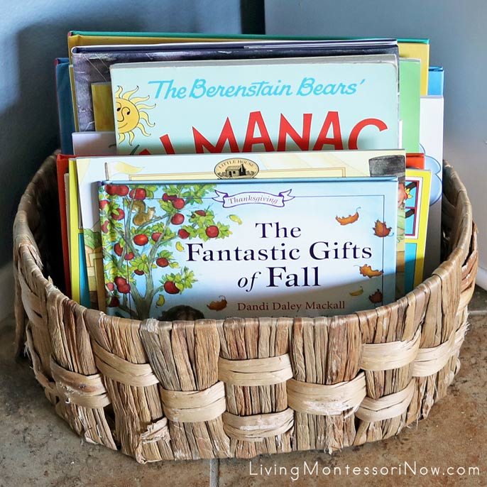 Book Basket with Books for a Mini Fall Unit